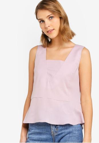 ZALORA 粉紅色 無袖荷葉飾上衣 F03E3AA8D80F02GS_1