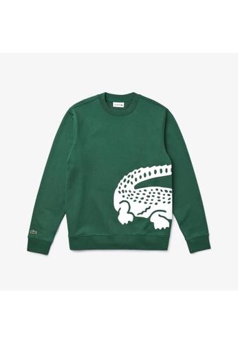 Lacoste green Lacoste Men's Oversized Crocodile Crew Neck Sweatshirt FDD62AAA0B1996GS_1