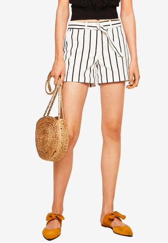 Mango white Belt Cotton-Blend Shorts A1334AAC3BF9A3GS_1