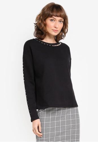 River Island black Faux Pearl Embellished Sweatshirt RI009AA0SZG3MY_1