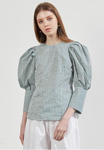 Workwear multi Stripe Wide Sleeves Blouse WO056AA36FJNSG_1