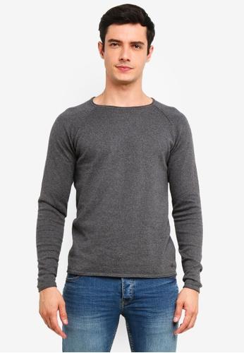 !Solid 灰色 Stamos Mix 絲綢Raglan 針織Sweater 083B3AAE68C3DBGS_1