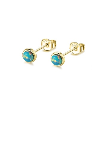 Glamorousky blue 925 Sterling Silver Plated Gold Simple Fashion Geometric Round Blue Opal Stud Earrings CD349AC05E071EGS_1