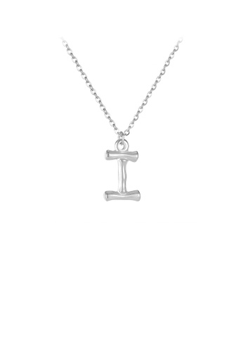 Glamorousky silver Fashion Simple English Alphabet I 316L Stainless Steel Pendant with Necklace 63AC3ACD866618GS_1