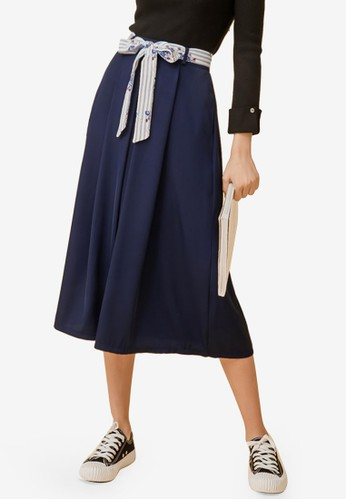 Eyescream navy Box Pleat Midi Skirt With Sash 99423AA009045EGS_1