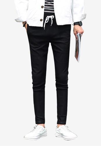 hk-ehunter black Casual Solid Elastic Waist Jogger Pants 358C2AAAB42A03GS_1