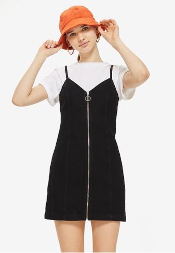TOPSHOP 黑色 Zip Through Denim Dress 91D70AADB530B4GS_1