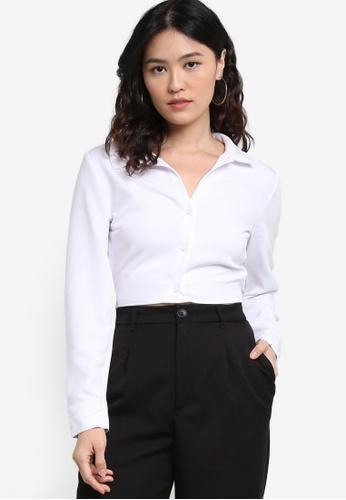 H&M white Tie-Detail Blouse 6106CAA0A85006GS_1
