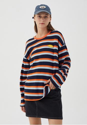 Twenty Eight Shoes Loose-Fitting Contrast Stripe Long T-shirt HH0918 C548BAAF4AB839GS_1