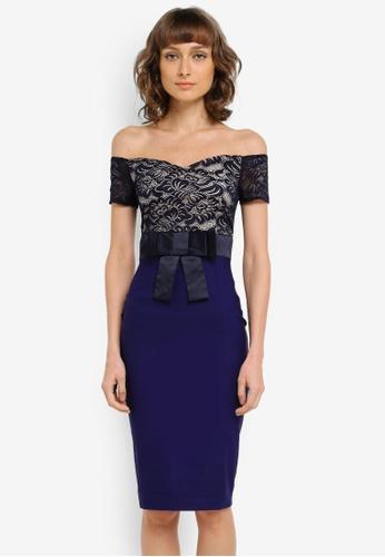 Vesper navy Jessie Sweetheart Bow Waist Midi Dress VE733AA0SM27MY_1