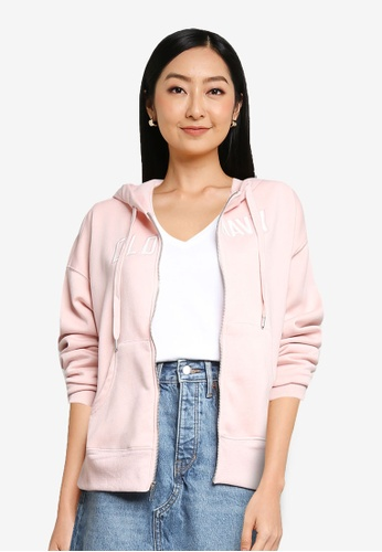 Old Navy pink Logo-Graphic Zip-Front Hoodie AB56BAA3B91FA2GS_1