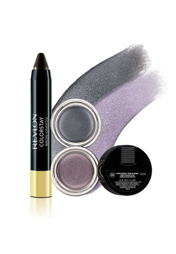 Revlon grey and brown and purple ColorStay™ Crème Eye Shadow & Brow Crayon Set 5 RE737BE0FUYLSG_1