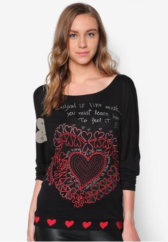 zalora taiwan 時尚購物網愛心圖案文字長袖衫, 服飾, T恤