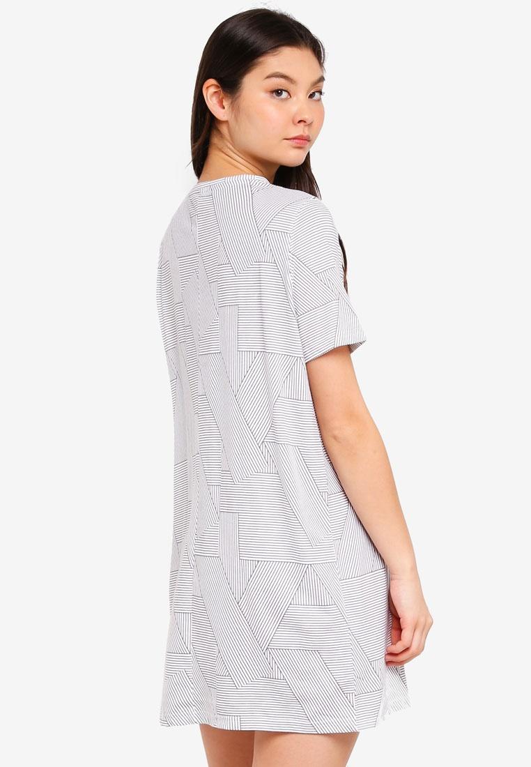 b6884ebacf ... Shirt Nightie White Stripe T Boxy On Body Splicey Cotton qUvIw ...