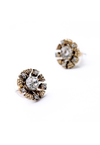 My Fame Diva gold Stardust Stud Earrings MY698AC01HBAMY_1