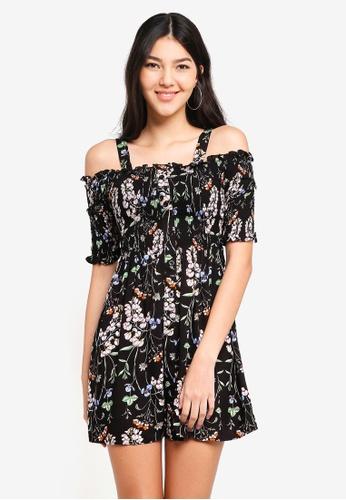 cb917b4946b Kitschen black Floral Smokey Cut Out Shoulder Short Dress 15E8EAA4E7F12CGS_1