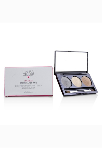 Laura Geller LAURA GELLER - Baked Cream Glaze Trio Eyshadow Palette With Brush - # Golden Sunset 3g/0.1oz 59AB5BE97AE956GS_1