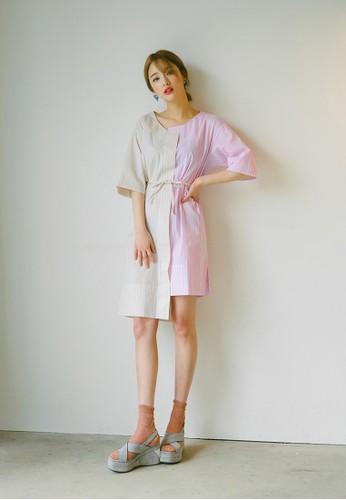 不對稱esprit台灣條紋雙色連身裙, 服飾, 印花時代