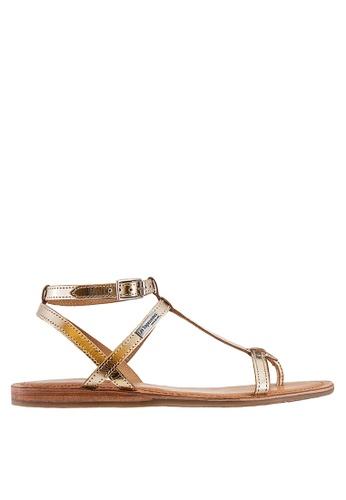 Les Tropeziennes Par M. Belarbi gold Hilan Gold T-Strap Leather Sandals 4A647SH7A62737GS_1