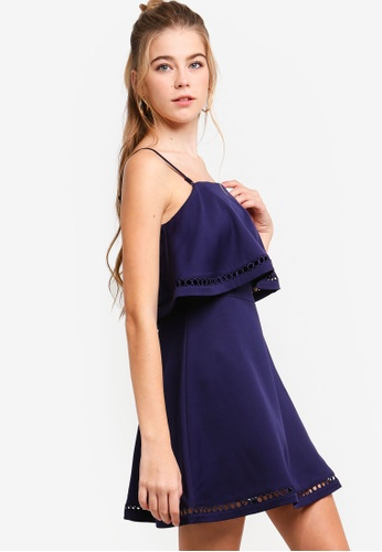 Something Borrowed navy Double-Layer Party Dress 04A9CAA54445CBGS_1
