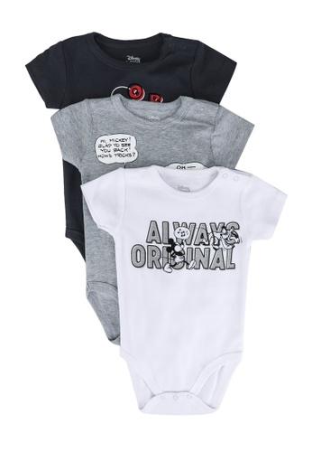 FOX Kids & Baby grey Mickey Print Ribbed Romper Set 6DB7CKA5761597GS_1
