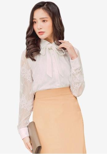 YOCO white Lace Bow Shirt C48B9AAA400F82GS_1