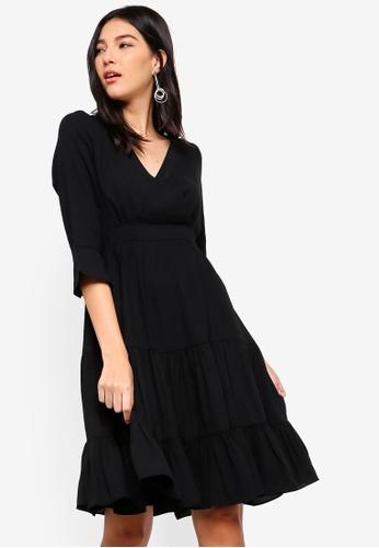 ZALORA black Overlap Tiered Dress 75684AAD7C26EBGS_1