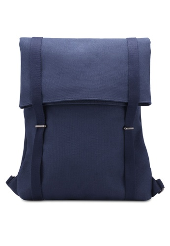 ZALORA navy Minimal Canvas Backpack with Double Strap 28A05ACD1E2712GS_1