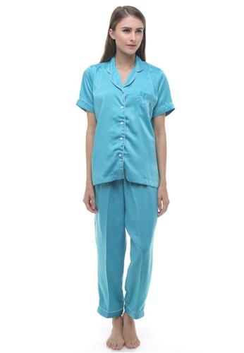 Madeleine's Blue Silk Long Pajamas