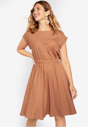 Violeta by MANGO brown Plus Size Striped Midi Dress FD178AA351FEC3GS_1