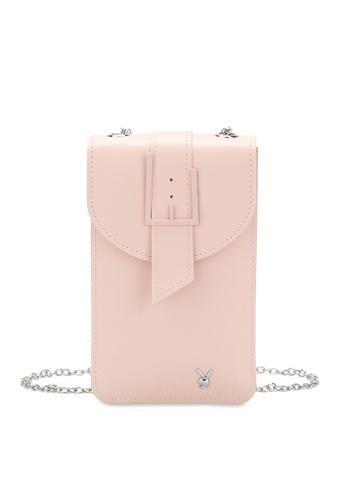 PLAYBOY BUNNY 粉紅色 Ladies Chain Sling Bag FC641AC8C1A63DGS_1