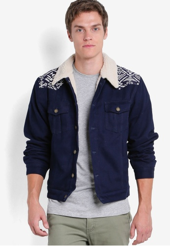 Wrung blue and navy Skeme Jacket WR395AA46PCRMY_1