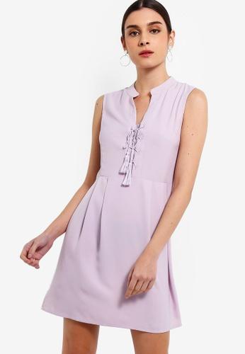 ZALORA 紫色 綁帶洋裝 7BDD6AA7D618FCGS_1