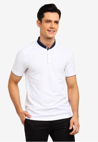 G2000 white Woven Detail Stand Collar Polo Shirt DC440AA996B1EAGS_1