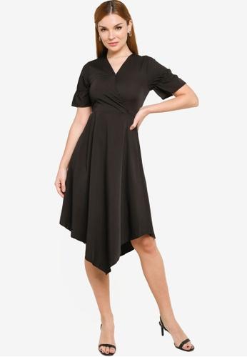 ZALORA BASICS black Asymmetric Hem Fit and Flare Dress 4FEDBAAD7A139DGS_1
