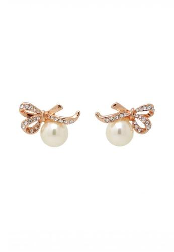 Jaysa Collection gold Rose Gold Ribbon Pearl Earrings JA875AC0FKLVSG_1