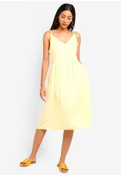 ad43c644024e40 ZALORA BASICS yellow Basic Tie Shoulder Midi Dress DC784AAA4A7000GS_1