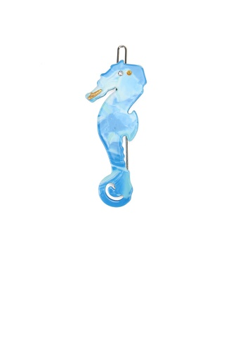 Glamorousky white Simple and Cute Blue Seahorse Hair Clip with Cubic Zirconia 5F178AC738DB2AGS_1