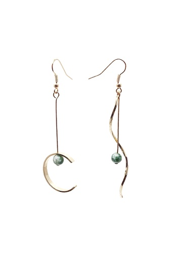 LUCCACAL green and gold Mismatch Geo Stone Earrings AF27BAC45997DDGS_1