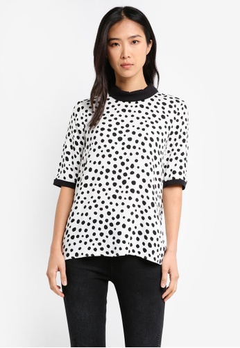 Esprit black and white and multi Short Sleeve Polka Dot Woven Blouse ES374AA0T14XMY_1