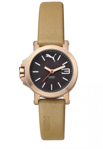 8de2fea366b5 Buy Puma Puma Ultramini Tan Leather Watch Online on ZALORA Singapore