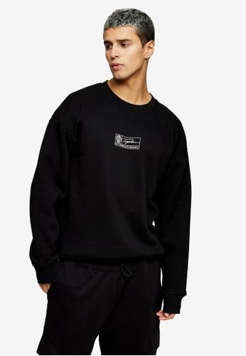 Topman black Signature Black Barcode Sweatshirt CA1E2AA6402FCDGS_1