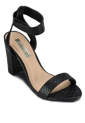 Priesprit台灣outletnny 一字繞踝粗跟涼鞋, 女鞋, 鞋