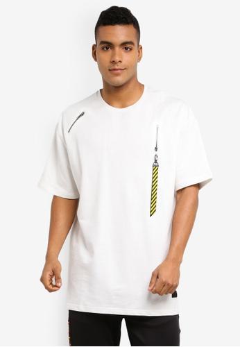 89b90a46ce0e92 Flesh IMP white Valkyrie Zipper Hook Oversized T-Shirt 468EEAAFC1DBB0GS 1