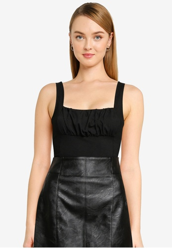 Miss Selfridge black Petite Black Ruched Bustier Bodysuit 5E7C8AAC74002EGS_1