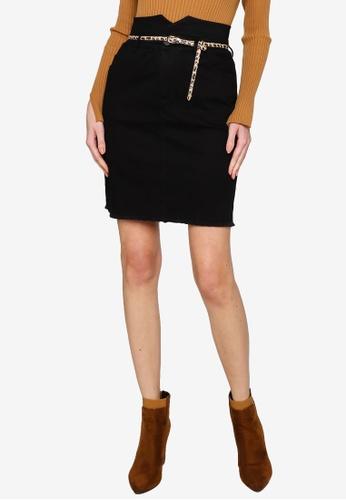 Hopeshow black A-Line Short Skirt with Leopard Print Belt 4E2C8AA2863290GS_1