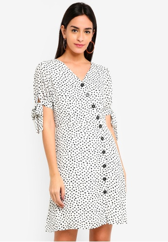 ESPRIT white Cat Print Mini Dress D3548AA4EF1575GS_1