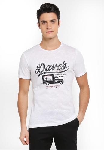 Sisley 白色 DAVE餐車圖案T恤 17783AAA04772FGS_1