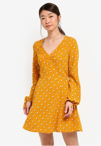 Miss Selfridge yellow Spotted Holly Tea Dress C39DBAA1C7C514GS_1