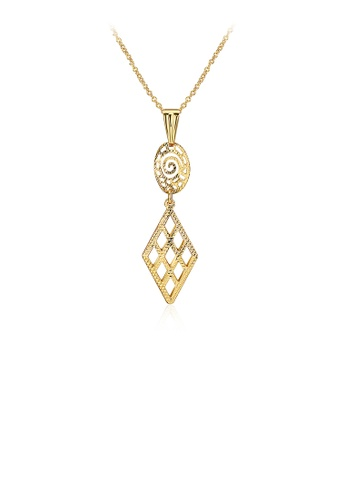 Glamorousky silver Simple Golden Geometric Openwork Pendant with Necklace 400B1AC44D5D26GS_1